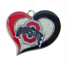 Ohio Stase Buckeyes College sports team logo swirl heart charm Sport Jewelry Fans collection(China)