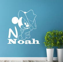 N008 Carton Kids Name Wall Stickers Personalized Mickey Mouse Decals Nursery Room Decor Free Shipping