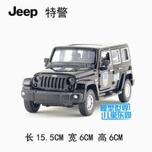 Candice guo alloy car model creative wrangler JEEP police patrol wagon plastic motor acousto-optic pull back children toy gift