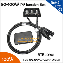 5pcs/Lot 80-100W 6A PV Solar Junction Box with 2 Diodes (10SQ050), MC4 Connector, 90CM Cable, IP65 Waterproof, TUV Certificate(China)