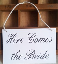 2016 wedding decoration Here Comes The Bride sign wedding Flower Girl wood props /Wedding Banner Rustic Ceremony Sign