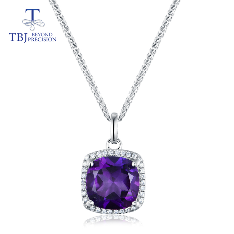 TBJ,Natural deep color african amethyst cushion 10mm simple design pendant necklace 925 sterling silver for women jewelry gift
