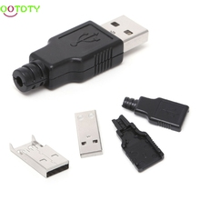 Buy 10 Sets DIY USB 2.0 Type Male USB 4 Pin Plug Socket Connector w/Plastic Cover 828 Promotion for $1.58 in AliExpress store