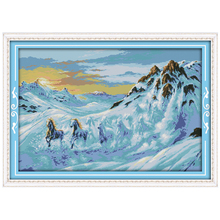 Horses Running in the Snow Mountain Counted Cross Stitch 11 14CT Cross Stitch Set Animals Cross-Stitch Kit Embroidery Needlework