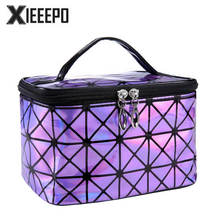 Functional Cosmetic Bag Women Fashion PU Leather Travel Make Up Necessaries Organizer Zipper Makeup Case Pouch Toiletry Kit Bag(China)