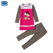 Novatx HH703 kids wear suits winter baby girls clothing sets apllique children clothes girls casual sets with rabbit for girls(China)