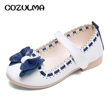 COZULMA 2017 Spring Summer Child Girls Sandals Kids Girls Bow Tie Leather Shoes Princess Girls Shoes Kids Leather Flats(China)