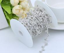 Free Shipping  5 yards Crystal Rhinestone Trim, Rhinestone Applique, Bridal Applique,Wedding Applique,Rhinestone Chain TONG008