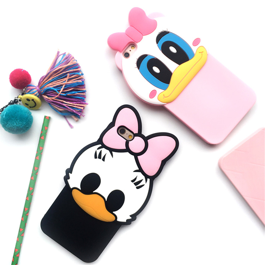 New Style 3D Fashion Cute Cartoon Donald Duck Fundas Capa Soft Silicon Cover Phone font b