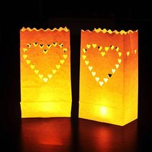50 x Hearts Luminaria Small Paper Lantern Candle Bags For Party Home Outdoor Wedding Decoration