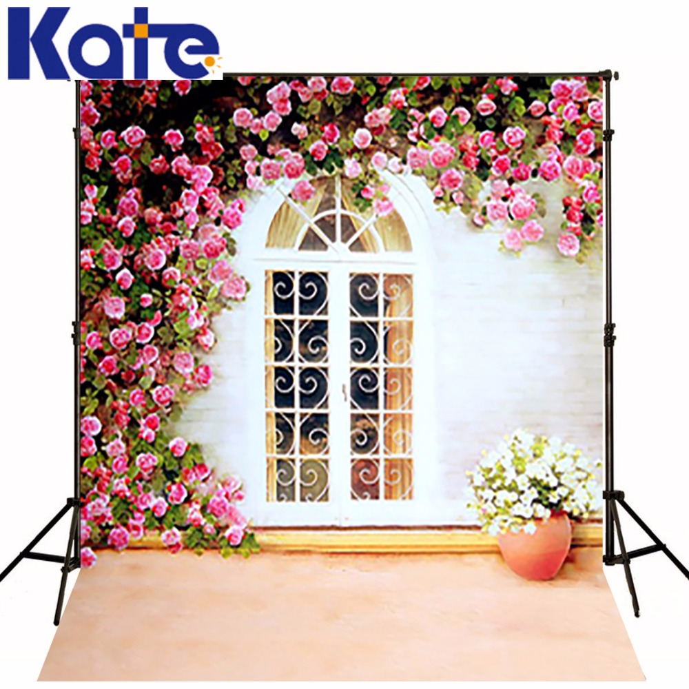 300Cm*200Cm(About 10Ft*6.5Ft) Backgrounds Fence Around The Windows With Flowers Photography Backdrops Photo Lk 1473<br>