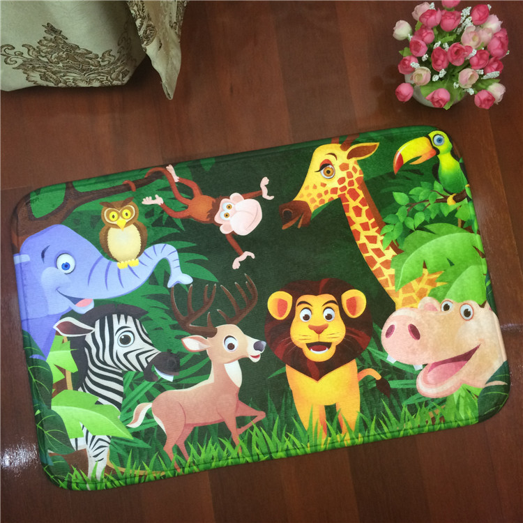 2017 Zoo Tiger Giraffe Flannel Carpet Pad Brand Kitchen Toilet Mat Rug Water Doorway Door Free Shipping DT76