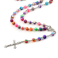 Trendy Alloy Cross Charms Multicolor Soft ceramics Beads Chain Pendant Necklace For Women Jewelry(China)