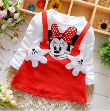 2018 New children Girl's dress Suit Minnie kids Clothing sets princess Baby girls Long-sleeved hello kitty dress strap tops(China)
