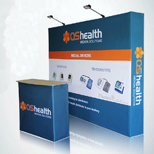 10ft Portable Custom tension fabric trade show displays pop up stand exhibition Ipad stand Counter LED spotlights