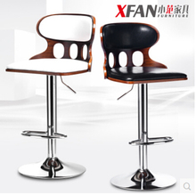 Solid wood bar stool fashion European household back chair contracted high bar stool rotating lifting bar chairs(China)