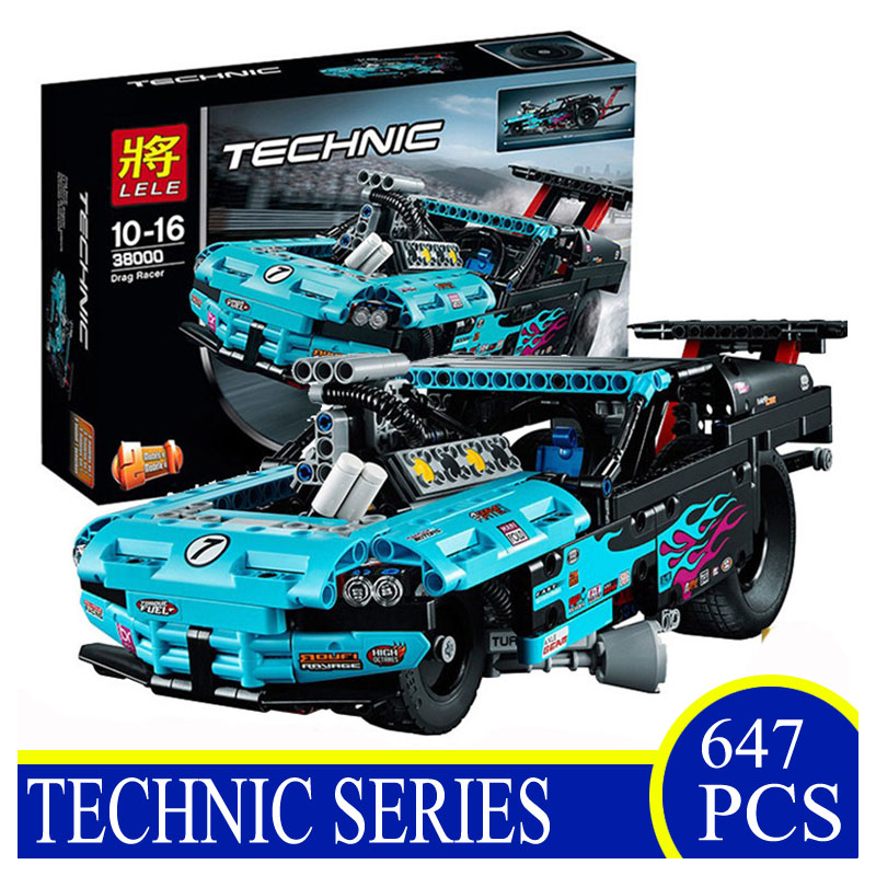 38000 647pcs Technic Series Drag Racer Model Assemble Building Blocks Bricks Funny Children Gifts Compatible With LEPIN 42050<br>