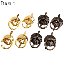 4Pcs Antique Bronze/Gold Cabinet Knobs and Handles Furniture Knobs Kitchen Drawer Cupboard Ring Pull Handles Furniture Fittings