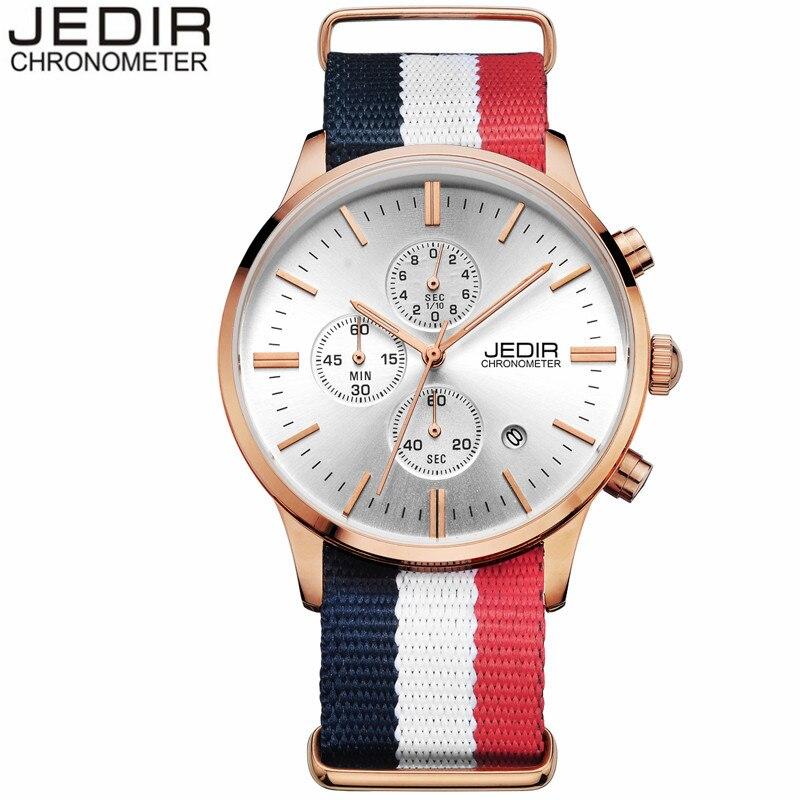 2017 New Fashion Mens Watches Top Brand Luxury JEDIR Nylon Strap Quartz Watch Men Sport Chronograph Wristwatch relogio masculino<br><br>Aliexpress