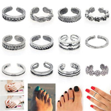 Buy 12pcs/set Charming Silver Color Simple Adjustable Open Toe Ring Finger Ring Sets Women Foot Beach Toe Rings Jewelry for $1.34 in AliExpress store