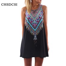 Women's Plus Size Printed Dresses Summer India Ethnic Women Sexy Sun Beach Mini Dress Party Woman Loose Boho Beachwear Tops K102
