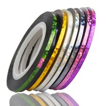 8 Rolls Glitter Laser Nail Art Striping Tape Line Sticker Tips Decorations DIY Self-Adhesive Decal Tools Manicure 2MM WY654(China)