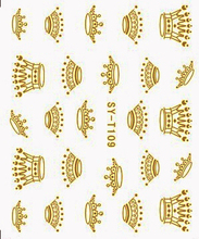 6 PACKS / LOT Gold/ Silver  Water Stickers Metallic Nail Decals CROWN CHINESE DRAGON TOTEM SYT109-114
