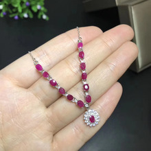 Natural red ruby stone Necklace natural gemstone Pendant Necklace S925 silver Fashion Elegant round Diana women wedding Jewelry(China)