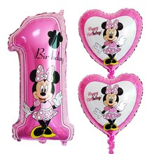 3pcs/set mickey minnie number 1 foil balloons helium latex globos baby shower birthday party decor supplies kids toys pink blue