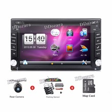 2 din Car Radio Double 2 din Car DVD Player GPS Navigation map In dash Car PC Stereo video+Free Map+ Camera Parking sensor(China)