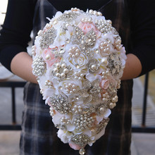 Vintage style Blush Cascading Bouquet Teardrop Butterfly Brooch Bouquet Pearl Alternative Bouquet Crystal Wedding Flowers FE68