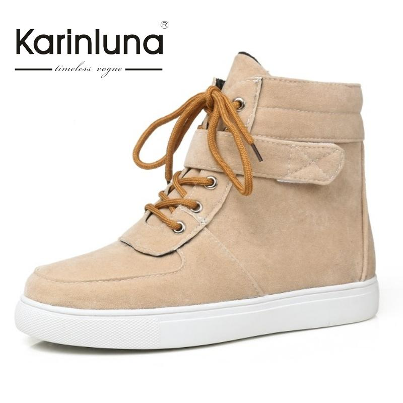 KarinLuna Concise Big Brand Small Big Size 31-44 Flat Heels Casual Boots Women Autumn Shoes Woman Riding Boots<br><br>Aliexpress