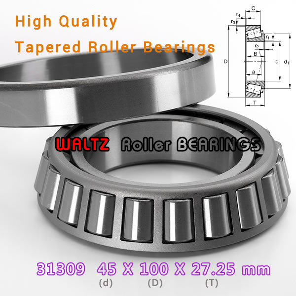 45mm Bearing 31309 27309 E 31309A 31309J2 45x100x27.25  High Quality Single-row Tapered Roller Bearing Cone + Cup<br><br>Aliexpress