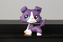 Lovely Pet Collection LPS Figure Toy Collie Dog Puppy #1676 Purple White Pink Blue Nice Gift Kids(China)