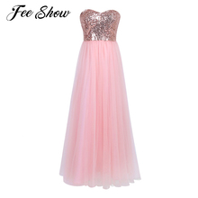 Pearl Pink Women Ladies Strapless Bridesmaid Long Dress Wedding Party Prom Gown Sexy Womens Mesh Shiny Sequins Full Length Dress(China)