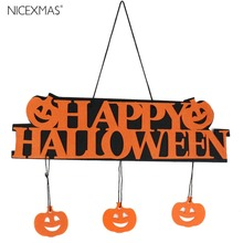 Halloween Decoration HAPPY HALLOWEEN Hanging Hang Tag Window Decoration Pumpkin Hanging Strips(China)