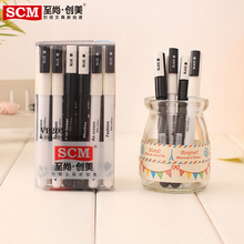 freeshipping 24pcs Student stationery creative pen short pen 0.35mm black gel pen pocket