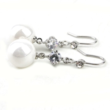 New Style Nature Pearl Drop Earring Crystal Dangle Earrings for Fashion Women