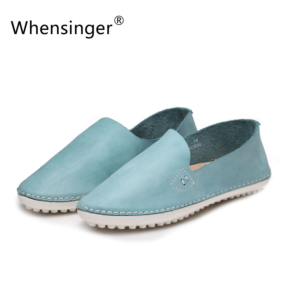 WhenSinger - 2017 Women Vantage Autumn Flats Full Grain Leather Shoes Solid Slip-On Style Round Toe 890-4<br>