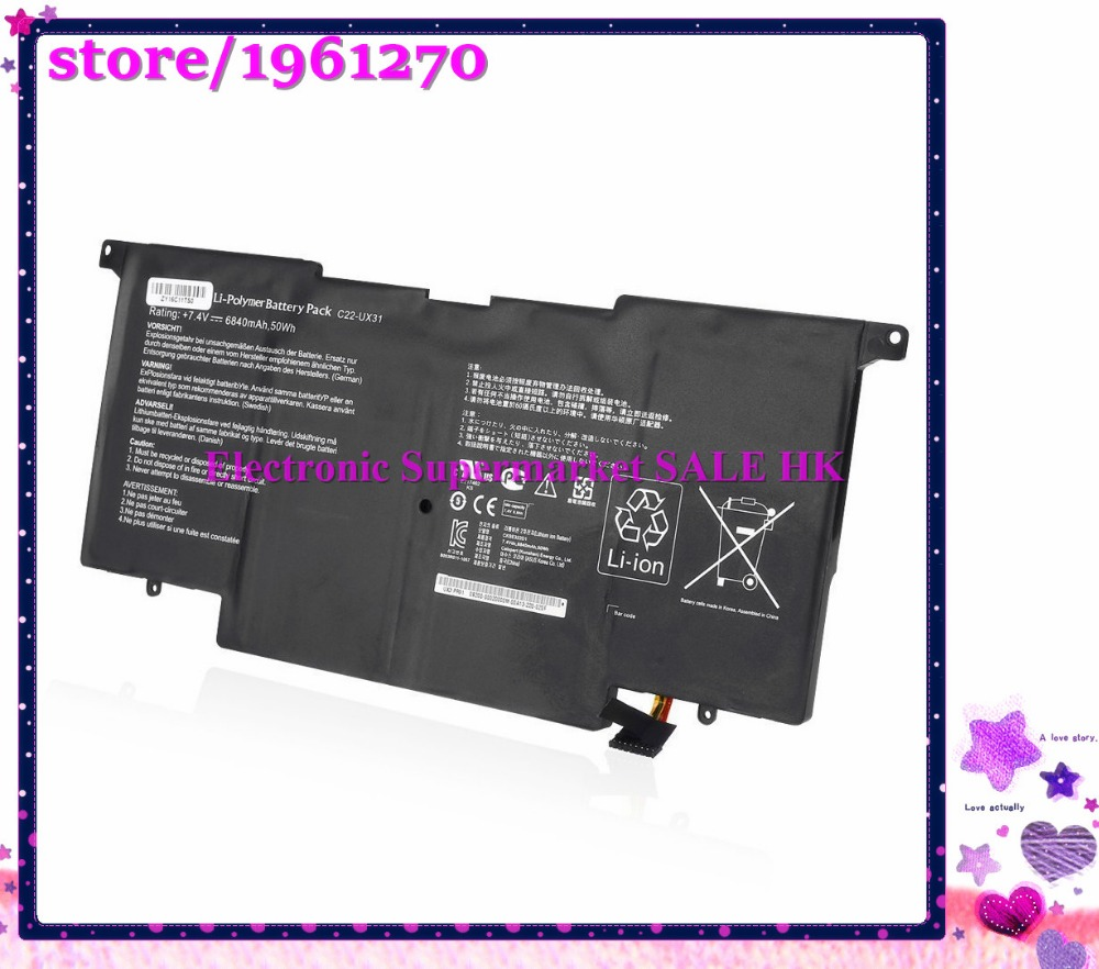 7.4V 50wh 6840Ah 6cell C22-UX31 battery for Asus ZenBook UX31 UX31A UX31E Ultrabook Laptop<br><br>Aliexpress