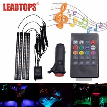 LEADTOPS Car Styling 12 led Car RGB LED Interior Light Strip Music Voice/Remote Control Decorative Atmosphere Lamps With Remote(China)
