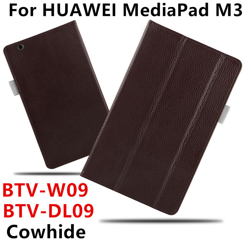 Case Cowhide For HUAWEI MediaPad M3 Protective Smart cover Genuine Leather Tablets 8.4 inch For Huawei M3 BTV-W09/DL09 Protector<br>