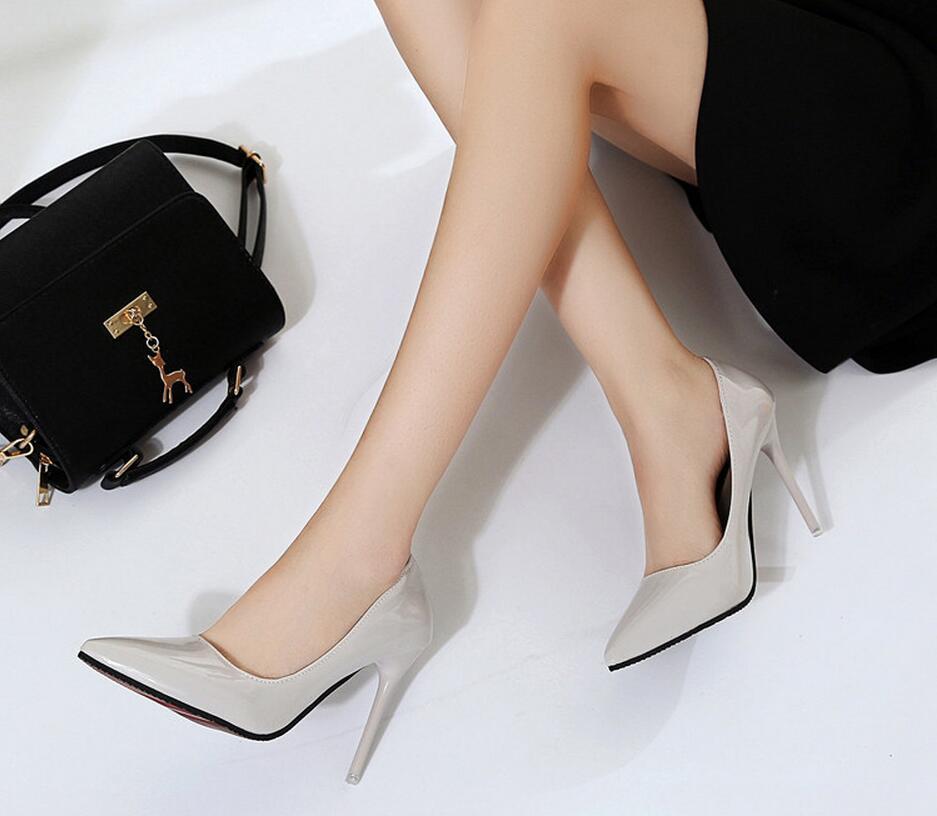 2018 Femmes Chaussures Bout Pointu Pompes En Cuir Verni Chaussures Habillées Talons hauts 30