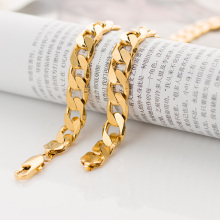 11mm Mens Boys Link Chain Flat Curb  Gold Filled Necklace High Quality Gift Customize Size Jewelry