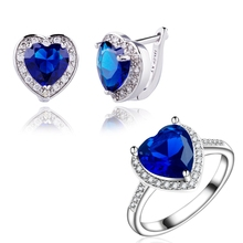 Yunkingdom HOT NEW Jewelry white Gold Color Blue  zircon crystal Wedding Heart style Earring Ring set  fashion style LPG9