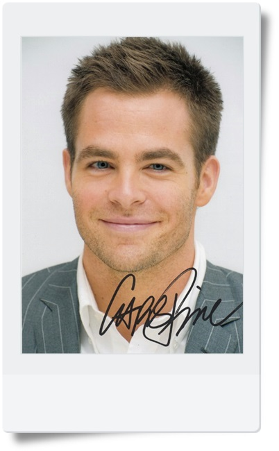 signed Chris Pine autographed photo 7 inches hot male actor  freeshipping 08201704<br>