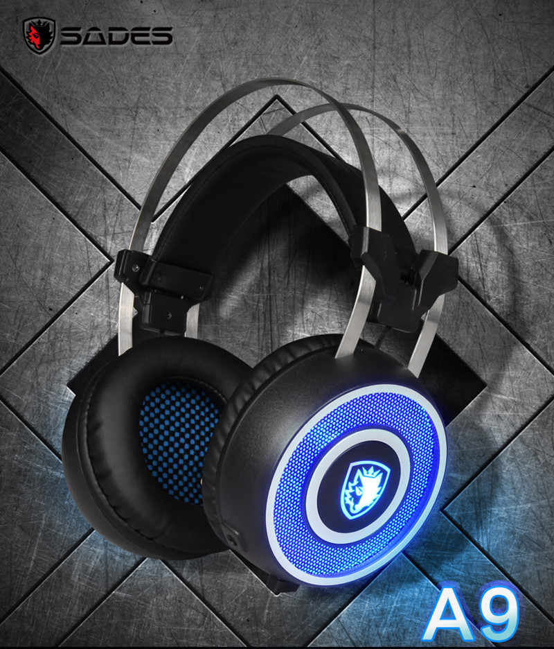 3D Surround Vibration Gaming Headphones LED Light with Microphone Professional Game Hifi Noise Canceling Earphone SADES A9<br>