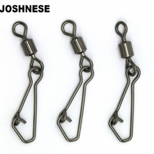 50pcs/lot Stainless Steel Fishing Bearing MS+QL Swivels Interlock Rolling Swivel with Hooked Snap  Fishing Hook Connector Tackle