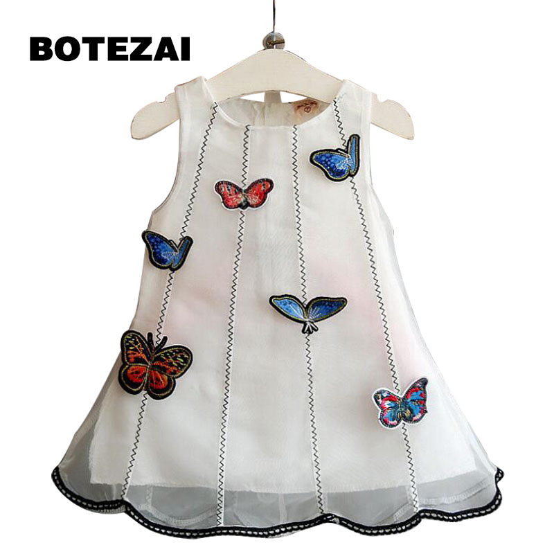 Korean version of the childrens clothing 2017 summer new girls 2 years old 3-dimensional cloth butterfly gauze dress dress vest<br><br>Aliexpress