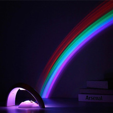 Rainbow Night Light Projector Children Kids Baby Sleeping Romantic Led Projection Lamp Atmosphere Novelty Home Lamps Night Lamp(China)
